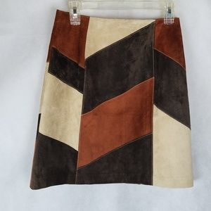 Brown Patchwork leather skirt size 6